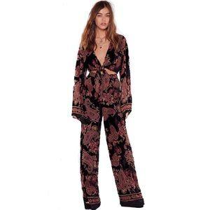 NWT Nasty Gal 2 Piece Set Velvet Floral Pants Top